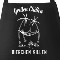 Grill-Schürze für Männer mit Spruch Grillen Chillen Bierchen Killen Spruch lustig Baumwoll-Schürze Küchenschürze Moonworks®