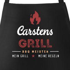 Personalisierte Grill-Schürze für Männer mit Name BBQ Meister meine Regeln Baumwoll-Schürze Küchenschürze Moonworks®