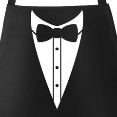 Grill-Schürze für Männer Grillschürze Smoking Suit Anzug Fliege lustig Baumwoll-Schürze Küchenschürze Moonworks®
