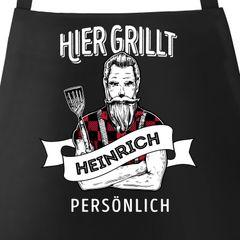 Grill-Schürze für Männer mit Spruch personalisierbar hier grillt eigener Name persönlich Grillen Geschenk Baumwoll-Schürze Küchenschürze Moonworks®