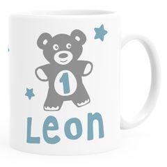 Kindertasse Kunststoff Teddybär 1-2 Geburtstag Baby personalisierte Namenstasse für Kinder Jungen Mädchen SpecialMe®