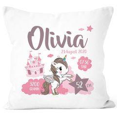personalisierbares Kissen zur Geburt Einhorn Geburtskissen mit Name Geschenk Geburt Baby Mädchen SpecialMe®