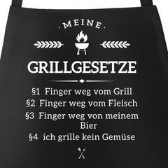 Grill-Schürze für Männer mit Spruch Grillgesetze Baumwoll-Schürze Küchenschürze Moonworks®
