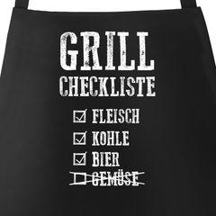 Grill-Schürze für Männer Grill-Checkliste Baumwoll-Schürze Küchenschürze Moonworks®