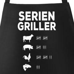 Grill-Schürze für Männer mit Spruch Seriengriller Strichliste Baumwoll-Schürze Küchenschürze Moonworks®