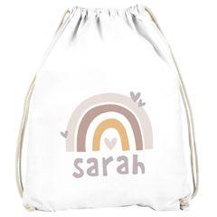 Kinder Turnbeutel Regenbogen mit Namen Herzen Skandi Stil personalisierte Geschenke Mädchen SpecialMe®