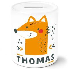 Kinder Spardose mit Namen Fuchs Tier-Motiv personalisierbar Sparschwein Keramik SpecialMe®