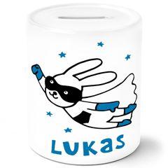 Kinder Spardose mit Namen Hase Superheld Sparschwein Keramik personalisierbare Geschenke Mädchen Jungen SpecialMe®