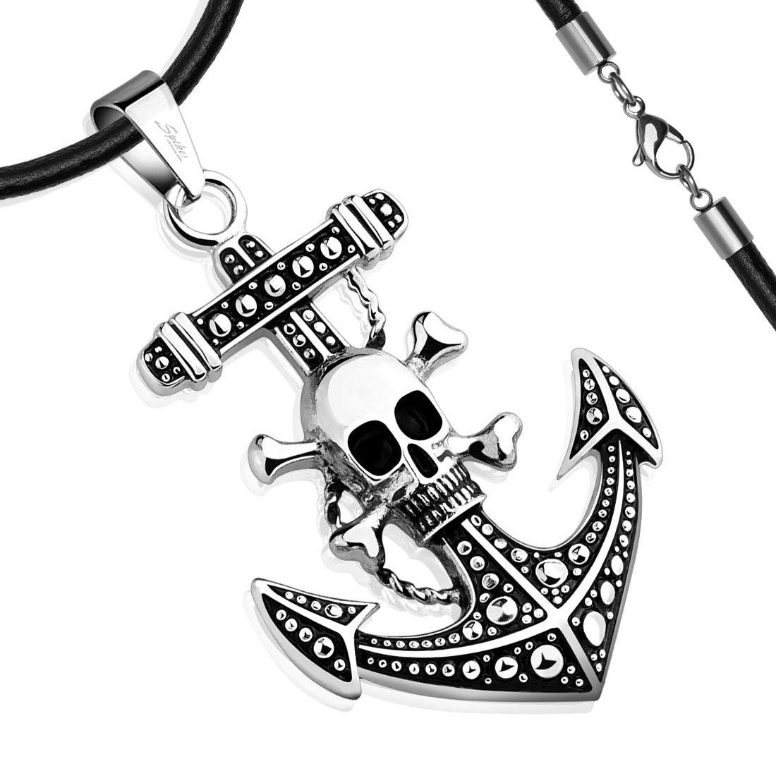 Edelstahl Anhänger Halskette Anker Totenkopf Pirat Anchor Skull ...