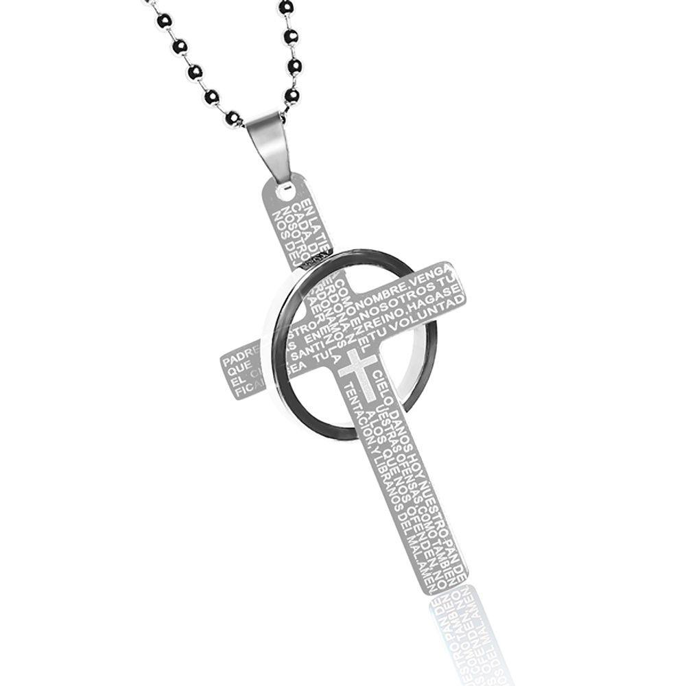 Halskette Edelstahl Kreuz Ring Gebet Inschrift Herren Damen ...