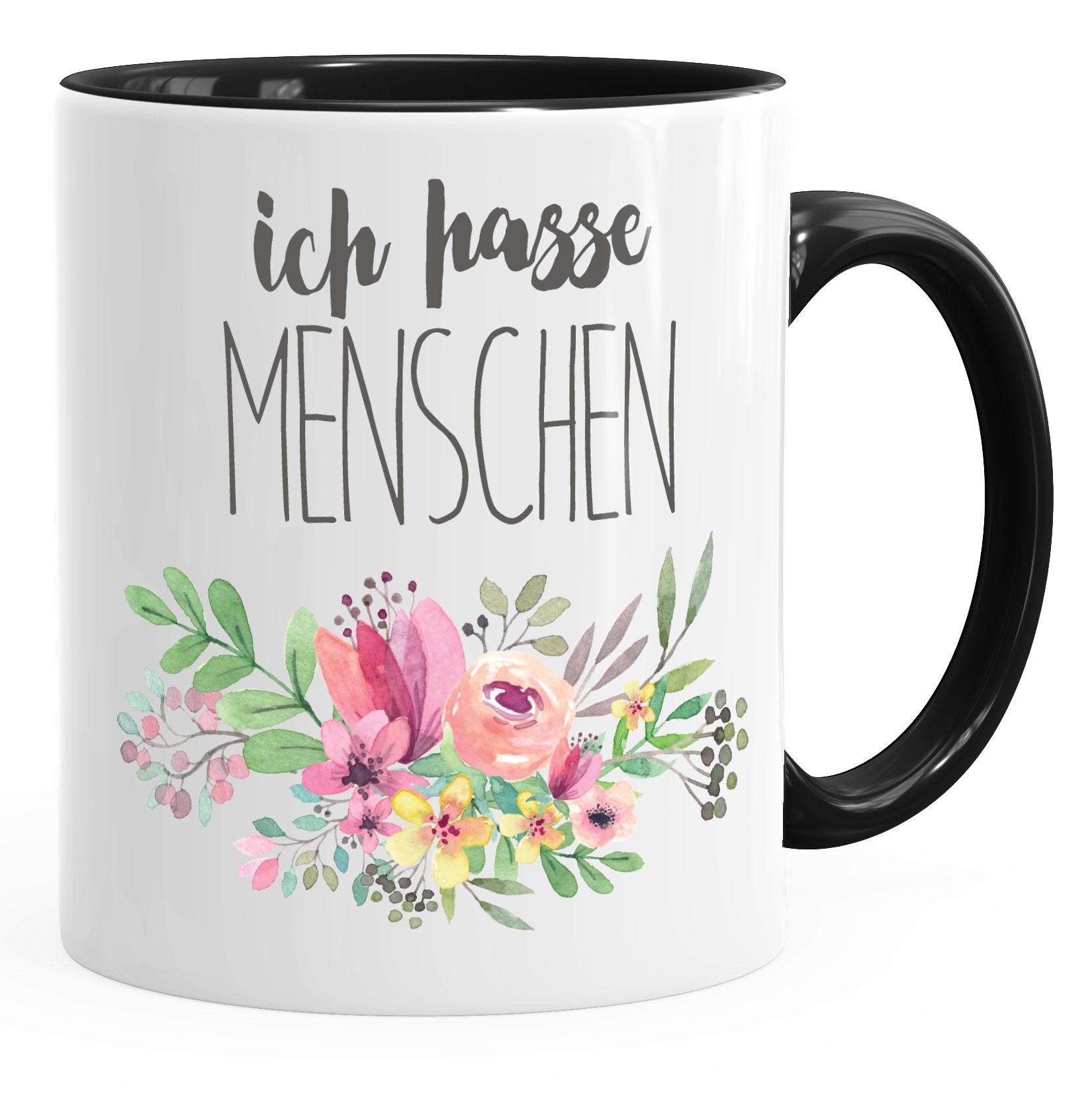Kaffee-Tasse Ich hasse Menschen Spruch Blumen Blumenranke Blüten bluming