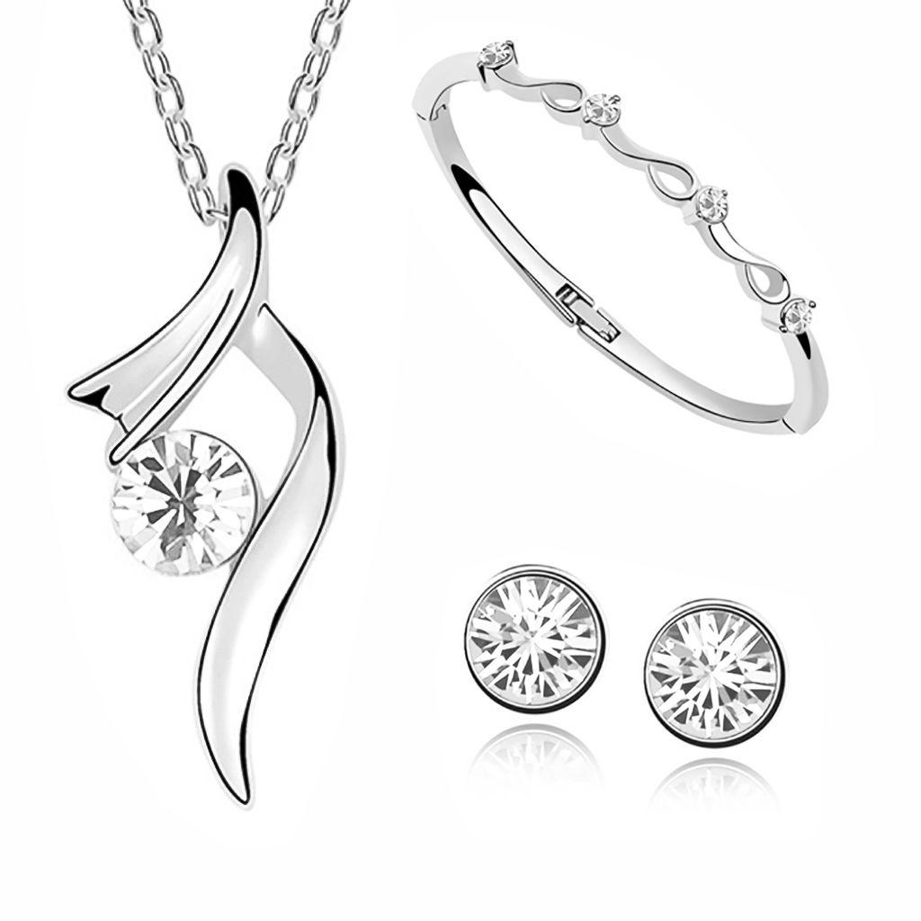 Details zu Damen Schmuck Set Halskette Ohrstecker Armband Zirkonia weißgold plattiert