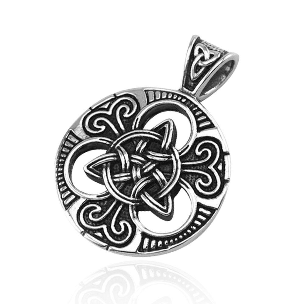 Anhänger Keltischer Knoten Triquetra Edelstahl Halskette Lederkette ...