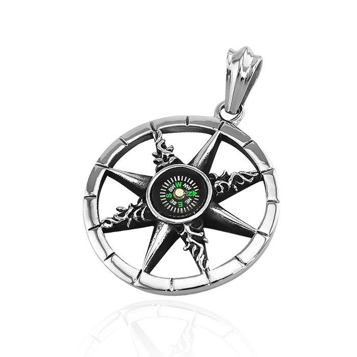 Anhänger Kompass Rad des Lebens Dharma Chakra Edelstahl Halskette ...
