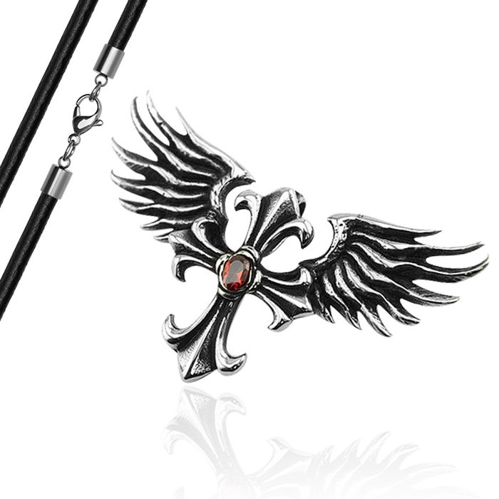 Anhänger Kreuz Flügel Engel Edelstahl Halskette Lederkette Zirkonia ...