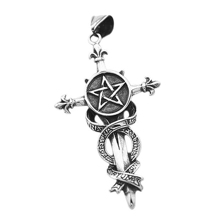 Anhänger Pentagramm Schwert Kreuz Fortuna Edelstahl Halskette ...