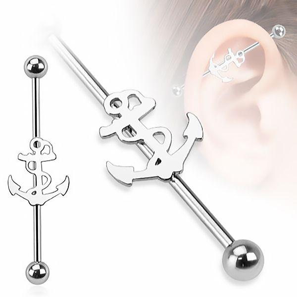 Autiga Industrial Stab Piercing Ohr Stecker Anker Anchor Straight Barbell Hantel