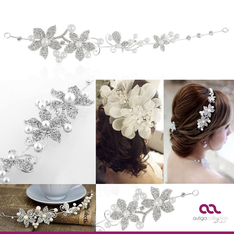 braut haarreif tiara perlen strass bl ten haarschmuck hochzeit haarband ebay. Black Bedroom Furniture Sets. Home Design Ideas