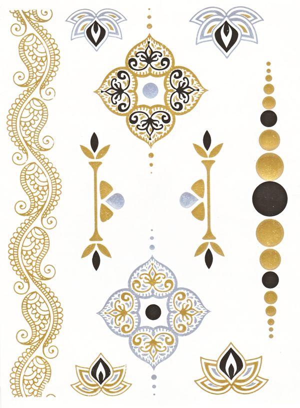Flash Tattoo Metallic Temporary Einmal Klebe Tattoo Gold Ornamente Blume Armband Kette