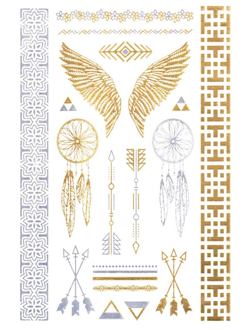 flash tattoo metallic temporary einmal klebe tattoo gold. Black Bedroom Furniture Sets. Home Design Ideas