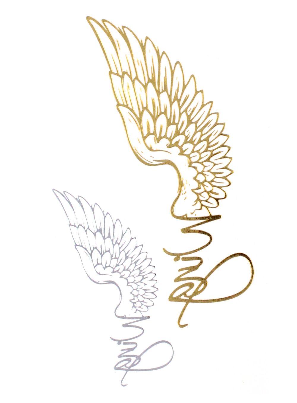 Exquisit Tattoo Motive Engel Sammlung Von Flash Metallic Temporary Einmal Klebe Gold Flügel