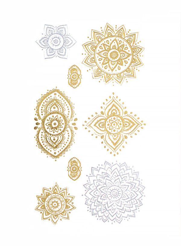 flash tattoo metallic temporary einmal tattoo klebe gold. Black Bedroom Furniture Sets. Home Design Ideas
