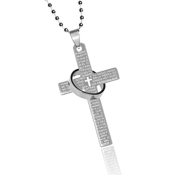Halsketten für damen  Halskette Edelstahl Kreuz Ring Gebet Inschrift Herren Damen ...