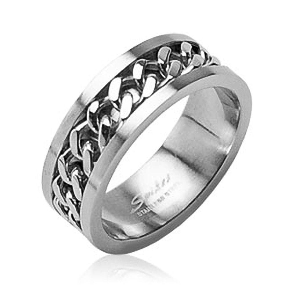 Herren Damen Edelstahl Ring silber Ketten Inlay Kettenring Drehring Spinner