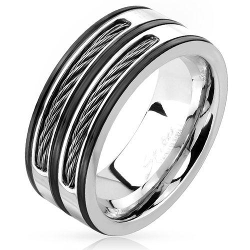 herren ring herrenring edelstahl stahlseil wire inlays. Black Bedroom Furniture Sets. Home Design Ideas