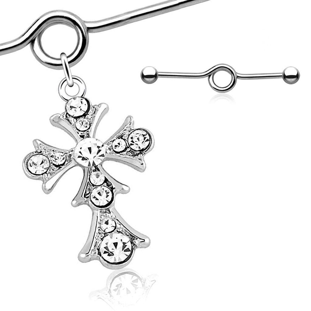 Industrial Piercing Stab mit Anhänger Kreuz Cross Straight Barbell Hantel Autiga