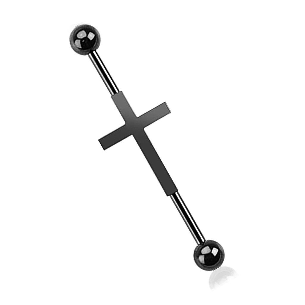 Industrial Stab Piercing Ohr Kreuz Cross Straight Barbell Hantel
