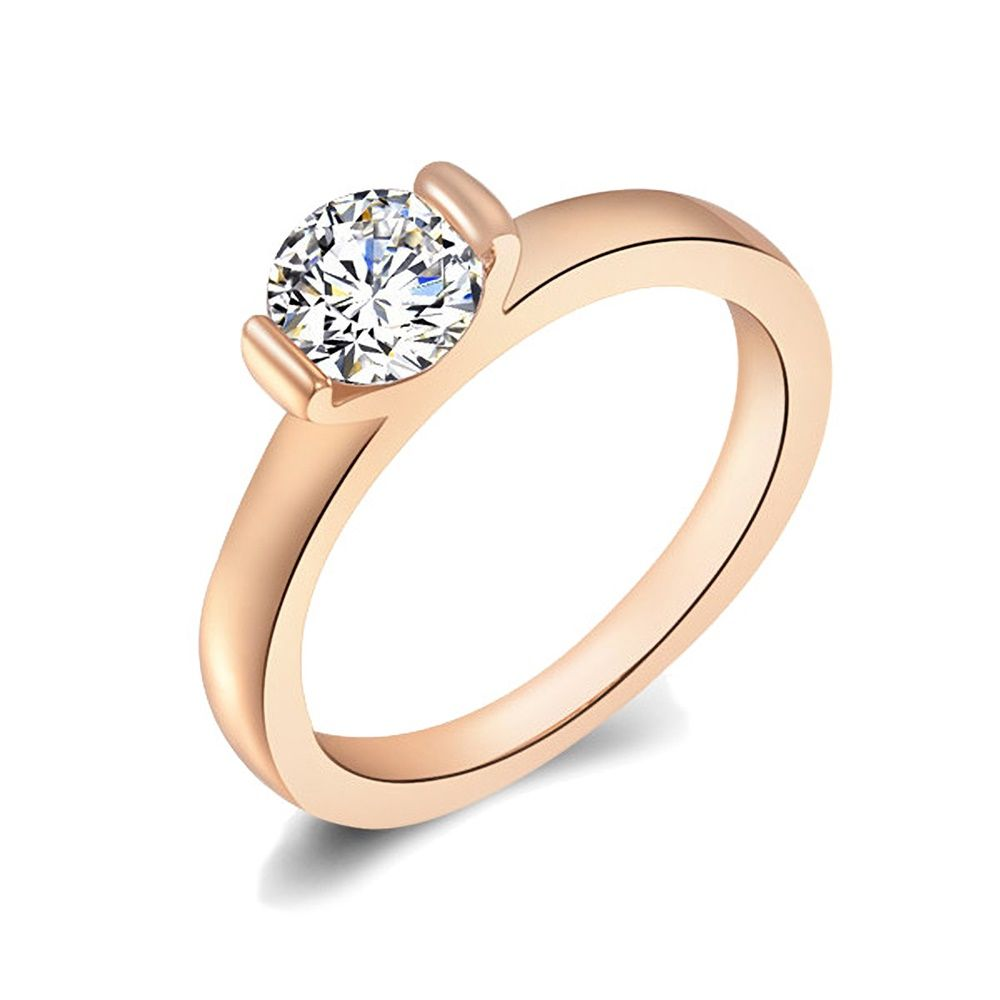 Luxuriöser Damen Ring mit glänzenden Zirkonia Kristall | edler Antragsring | silber | rosegold