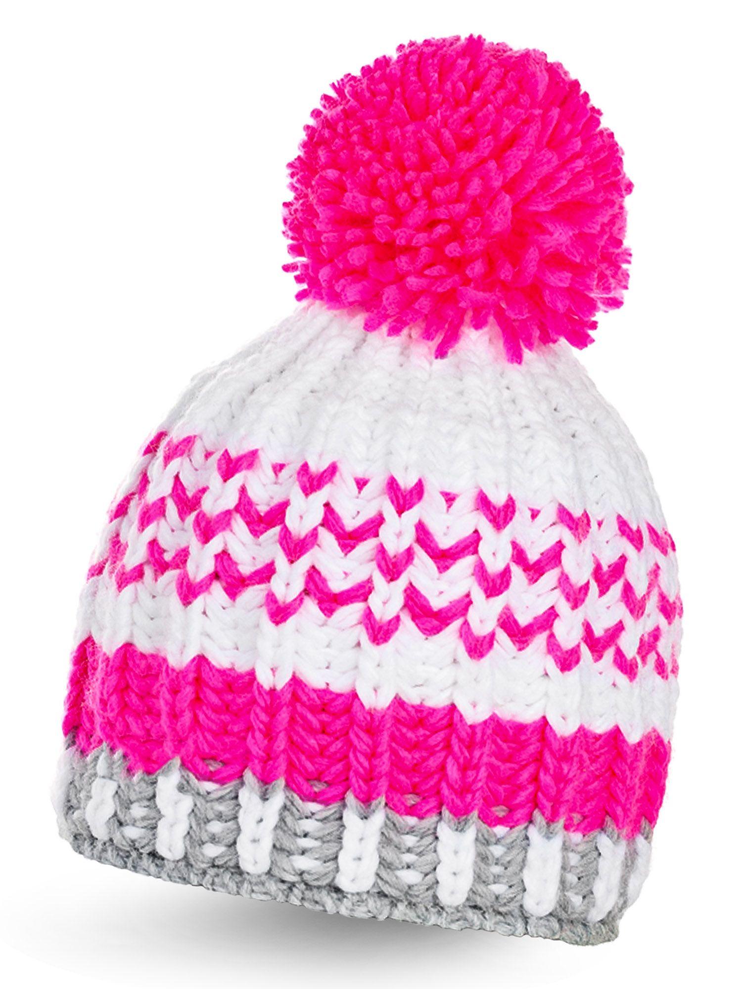 Damen Bommelmütze Mütze Strickmütze Wintermütze Pudelmuetze in 3 Farben