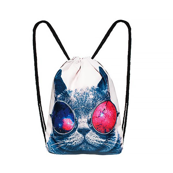 turnbeutel galaxy cat print katze sonnenbrille fullprint hipster beutel tasche beuteltasche. Black Bedroom Furniture Sets. Home Design Ideas